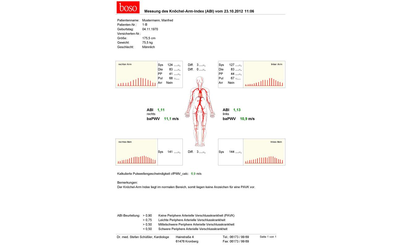 knöchel arm index messen